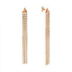 Золотые серьги-подвески в красном цвете с треугольником у основания и пятью цепочками 000117497