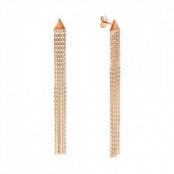 Золоті сережки-підвіски у червоному кольорі з трикутником біля основи і п'ятьма ланцюжками 000117497