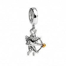 Серебряный шарм-подвеска Амур со стрелой и позолотой в стиле Пандора