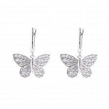 Серебряные серьги-подвески Первые бабочки с цирконием