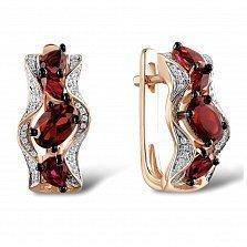Серьги из красного золота Каролина с бриллиантами и гранатами