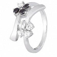 Серебряное кольцо с белыми и черными фианитами Пора цветения