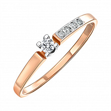 Кольцо из красного золота с бриллиантами 000150515