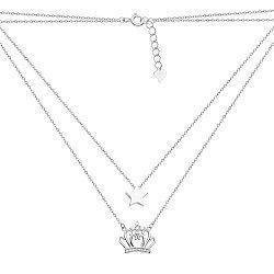 Серебряное двухслойное колье с короной, звездой и фианитами 000117981