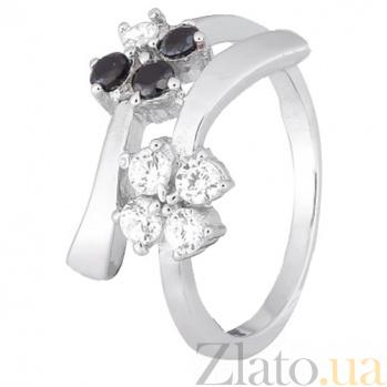 Серебряное кольцо с белыми и черными фианитами Пора цветения 000028144