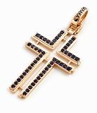 Золотой крест с синим цирконием Единоверие