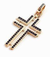 Золотой крест Baraka Единоверие с синим цирконием