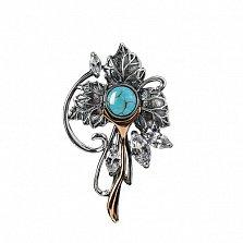 Серебряная брошь-подвес Величие природы с синтезированной бирюзой и цирконием