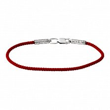 Крученый красный шелковый браслет Модерн с серебряной узорной застежкой, 3мм
