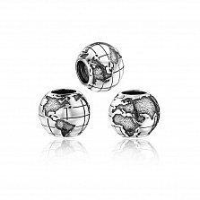 Серебряный фактурный шарм Глобус с чернением