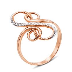 Золотое кольцо Восьмерка-бесконечность в комбинированном цвете с фианитами