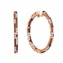 Серьги-конго из красного золота с коньячными и белыми фианитами, d 34мм 000134707