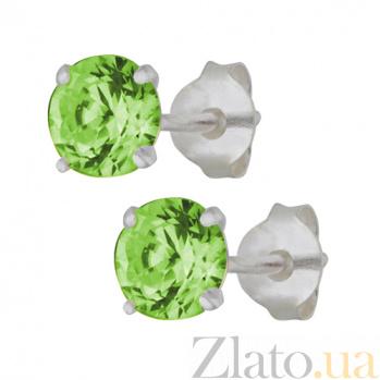 Серебряные серьги-пуссеты с зеленым цирконием Эсселта SLX--С2ФХ/603