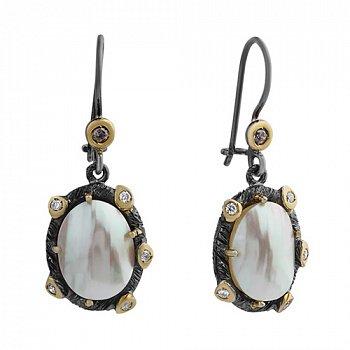 Серебряные серьги-подвески с мазерперлом и цирконием Ариель 000033339