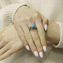 Серебряное кольцо Виола с бирюзой и фианитами