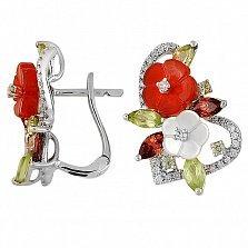 Золотые серьги Расцвет любви в белом цвете с агатами, гранатами, хризолитами и брилилантами