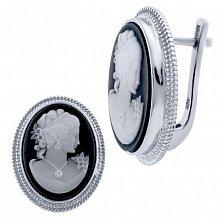 Серебряные серьги Манон с черной эмалью и белым перламутром