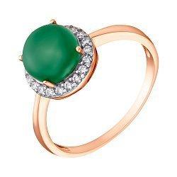 Позолоченное серебряное кольцо Рашель с зеленым агатом и цирконием