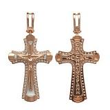 Золотой крестик Святыня с фианитами и эмалью