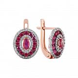 Золотые серьги Анджали с рубинами и бриллиантами