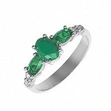 Серебряное кольцо Ундина с зеленым агатом, зеленым кварцем и фианитами