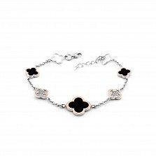 Серебряный браслет Бенефис с золотыми накладками, фианитами, черной эмалью и родием в стиле Ван Клиф