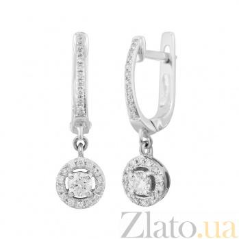Серьги-подвески из белого золота Николет с бриллиантами 000081212