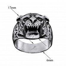 Серебряное кольцо Сила тигра с чернением