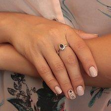 Серебряное кольцо Мирабель с сапфиром и фианитами