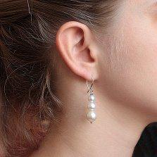 Серебряные серьги-подвески Арлин с белым жемчугом разных оттенков