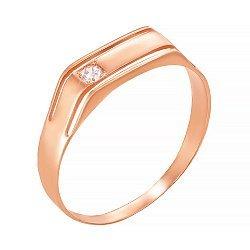 Перстень-печатка из красного золота с цирокнием 000106285