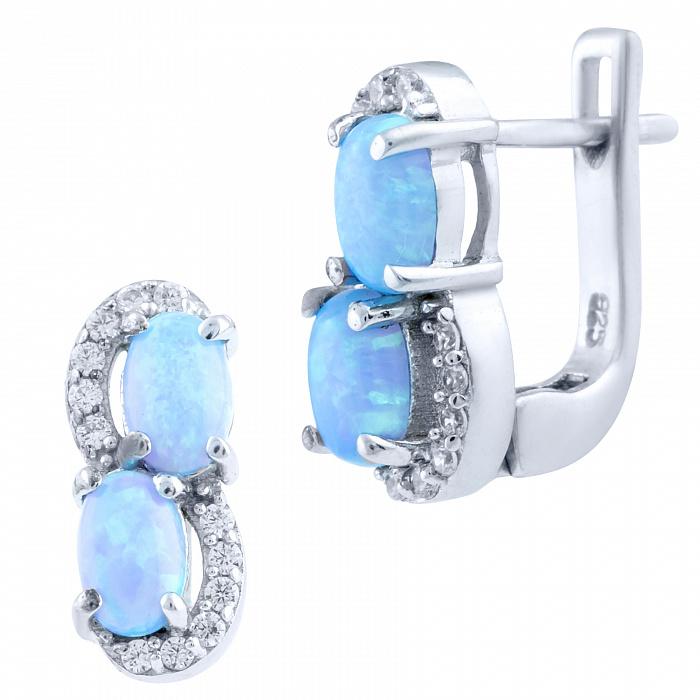 Серебряные серьги Персис с голубым опалом и фианитами 000066027
