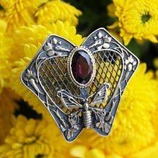Серебряная брошь с аметистом и позолотой Влечение