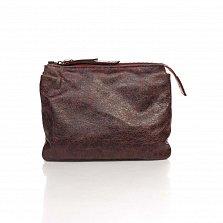 Кожаный клатч Genuine Leather 6564 бордового цвета с плечевым ремнем и двумя отделами