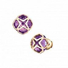 Серьги-пуссеты из розового золота с аметистами Imperiale
