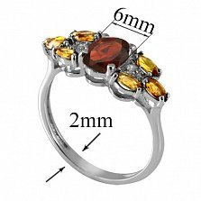 Серебряное кольцо с гранатом и жёлтым цирконием Ульяна