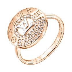 Золотое кольцо в комбинированном цвете с фианитами 000140752