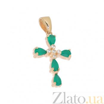 Золотой крестик с халцедоном и цирконием Свежесть утра 2П480-0056