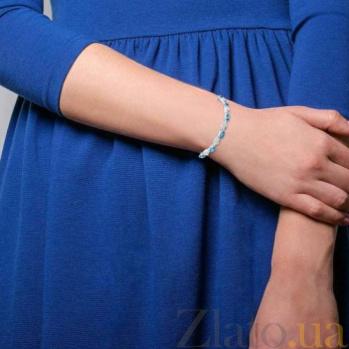 Серебряный браслет с топазом Лондон Блю  AQA--B00065TLB