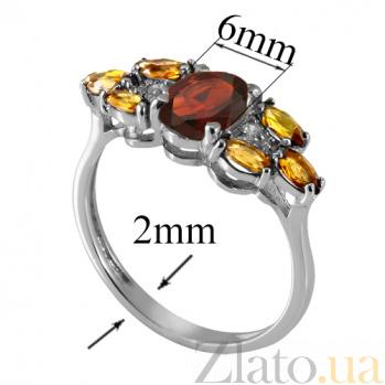 Серебряное кольцо с гранатом и жёлтым цирконием Ульяна 000018801