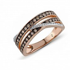 Кольцо из красного золота Евлалия с бриллиантами