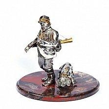 Серебрянная статуэтка Охотник и собака