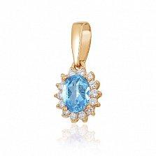 Золотой кулон Синтия с голубым топазом и фианитами