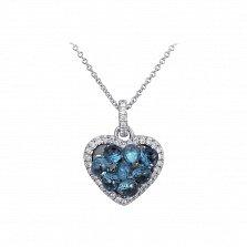 Золотой кулон Ледяное сердце в белом цвете с дорожками бриллиантов и голубыми топазами