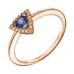 Кольцо в комбинированном цвете золота с синтезированным сапфиром и фианитами 000136625