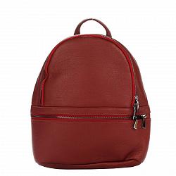 Кожаный рюкзак Genuine Leather 8482 темно-красного цвета с дополнительным карманом на молнии