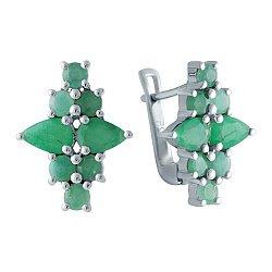 Серебряные серьги с изумрудами и цирконием 000128671