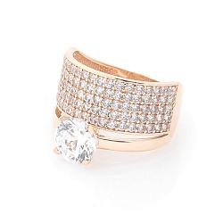 Золотое кольцо Одетта в красном цвете с двойной шинкой и фианитами