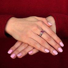 Серебряное кольцо Рашель с рубином и фианитами