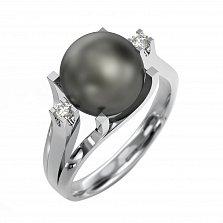 Кольцо из белого золота Канны с черным жемчугом и бриллиантами